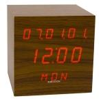 Ausgefallene Dekoration - Wecker Cube LED (Walnuß)