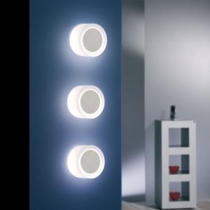 Dekorative Lampen - Wandleuchte - rund Opalglas/Edelstahl