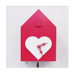 Wanddekoration - Kuckucksuhr mit Herz - modern